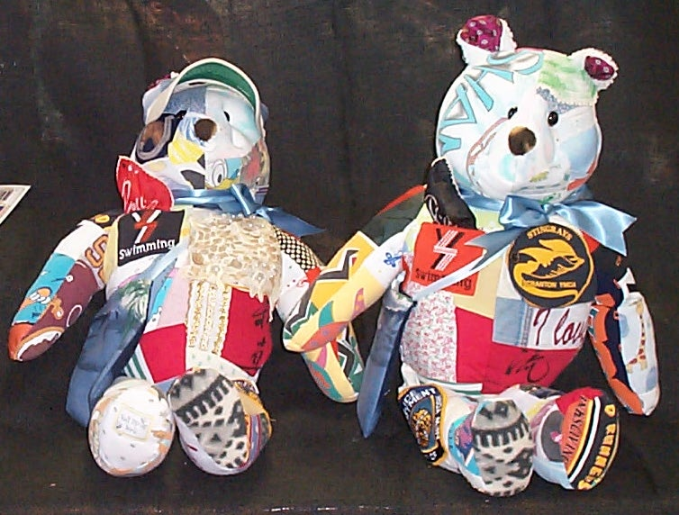 Pair of Memory bears made from family patches