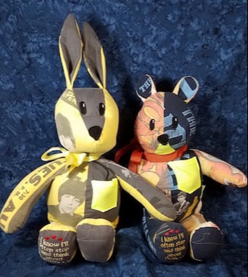a memory bear and bunny made from a father's shirts