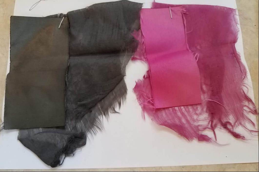 Polyester tied to dark charcoal grey and raspberry pink