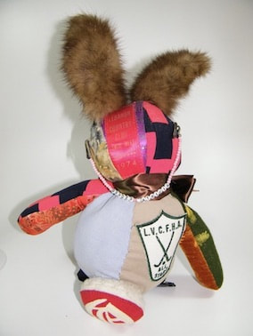 back of the memory bunny made of patches and family clothing