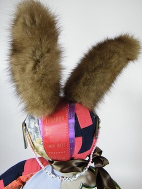 back of memory bunny head made from old swimming ribbons and mink fur ears from a vintage stole