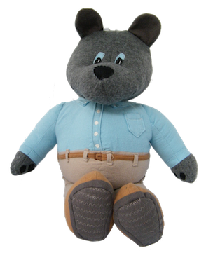 front of baby safe  memory bear sitting, showing the